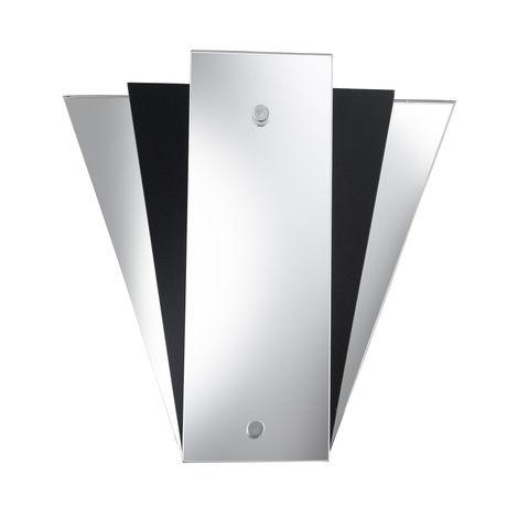 Deco Fan Style Wall Light Black Frosted Glass