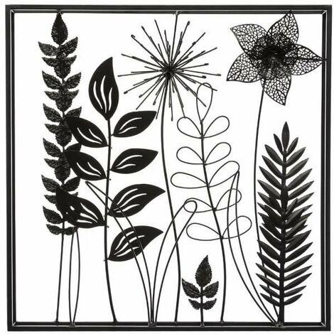 Déco murale en métal feuilles - 40 x 40 cm - Noir