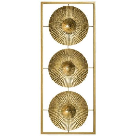 Déco murale métal 3 fleurs doré Atmosphera - Or