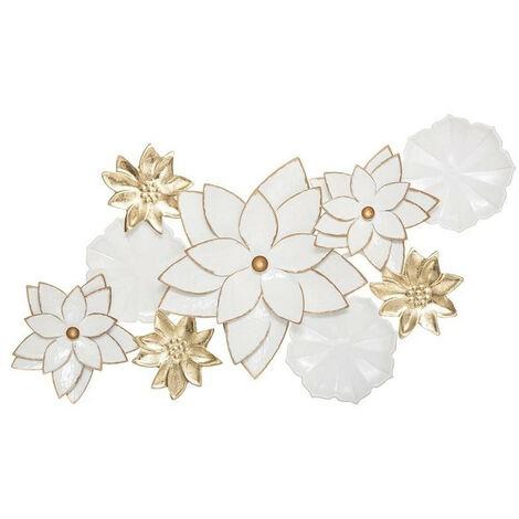 Déco murale métal fleurs Folk blanc et doré 80x42 Atmosphera - Blanc