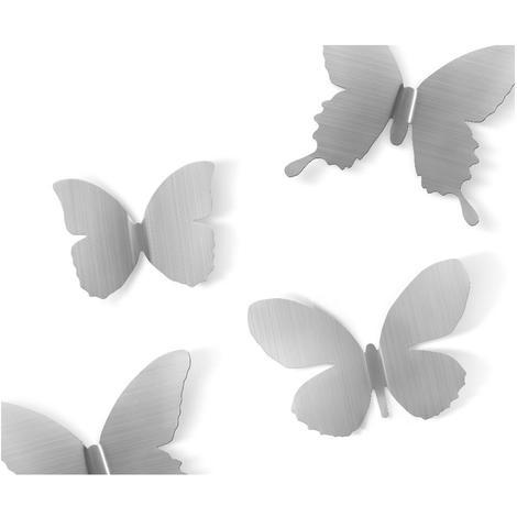 Déco murale Papillons métal (Lot de 9) Nickel