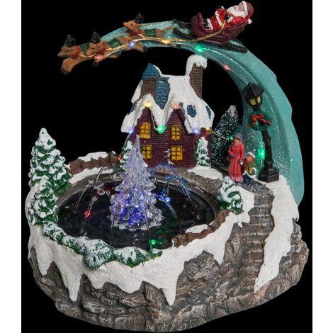 Déco Noël fontaine au village secteur lumineux musical animé - Multicolore