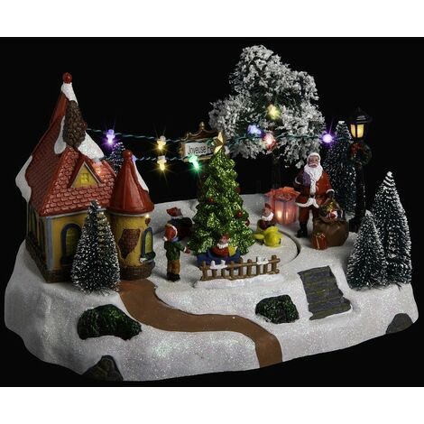 Déco Noël lutins en Laponie secteur lumineux animé musical - Multicolore