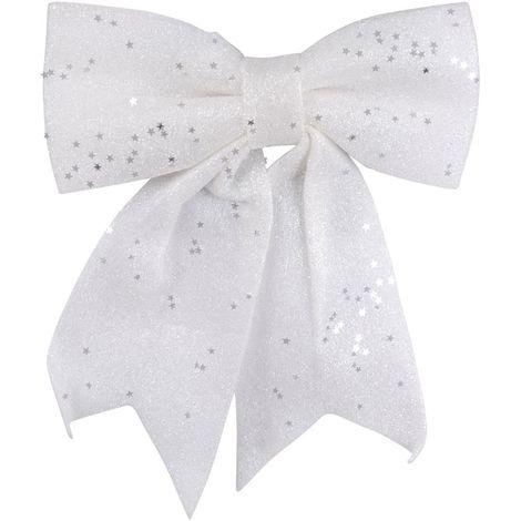 Déco nœud sapin de Noël Paillettes - Blanc - Blanc