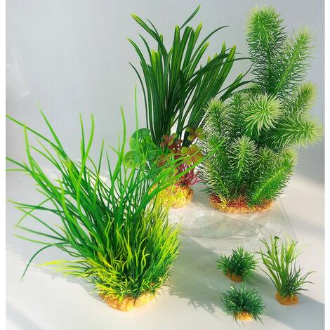 Déco plantkit idro n°3. plantes artificielles. 6 pieces. H 28 cm. décoration d'aquarium.