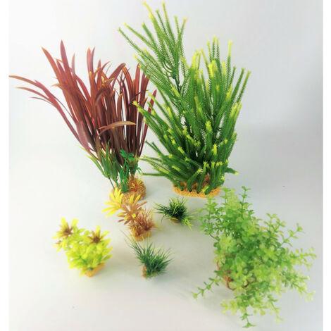 Déco plantkit idro n°4. plantes artificielles. 7 pieces. H 33 cm. décoration d'aquarium.