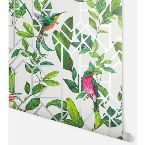 Deco Tropical White Multicoloured Wallpaper - Arthouse - 908004