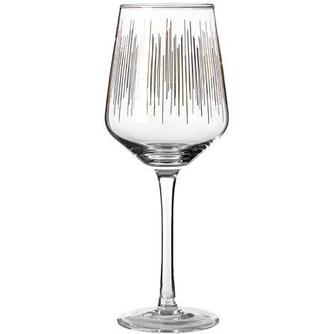 Deco Wine Glasses, Set of 4, Hand Blown / Gold Lines Design