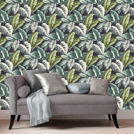 Deco4Walls Botanical Wallpaper Green + Blue