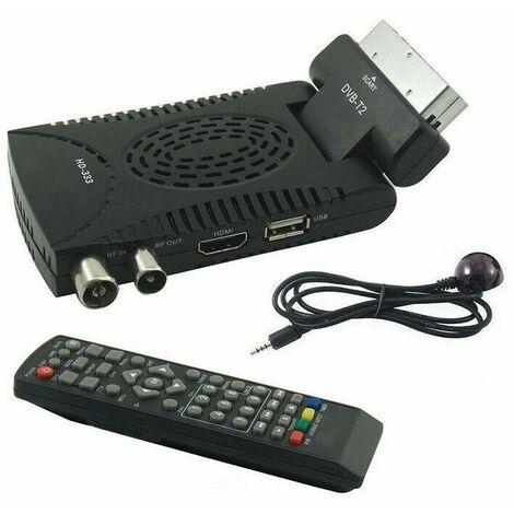"main image of ""DECODER DIGITALE TERRESTRE MINI DTV DVB T2 HDMI SCART 180 USB 333 TELECOMANDO"""
