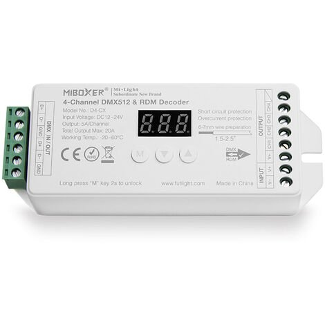Decoder DMX512-RDM, RGBW, 20A, 2.4Ghz RF