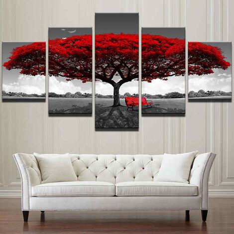Décor à la maison impression sur toile peinture Art mural moderne arbre rouge paysage banc cadeau # 30x40x2 30x60x2 30x80 (rouge, taille2)