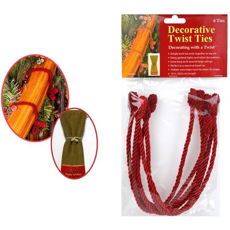 6 Twist Ties Christmas Decorative Cord Wire Xmas Lights Garland Decorations Red
