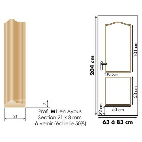 Décor de porte : kit 2 panneaux doucine à vernir