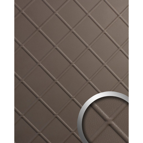Decor panel leather look WallFace 19544 CORD Dove Tale embossed Design panelling nappa leather look matt self-adhesive brown 2.6 m2