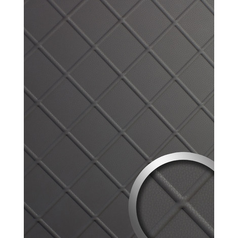 Decor panel leather look WallFace 19546 CORD Charcoal Light embossed Design panelling nappa leather look matt self-adhesive grey 2.6 m2