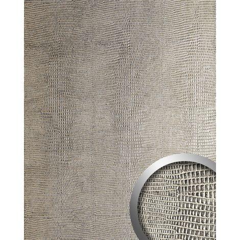 Decor panel leather look WallFace 19781 Antigrav LEGUAN Silver smooth Design panelling iguana leather look matt silver grey beige 2,6 m2