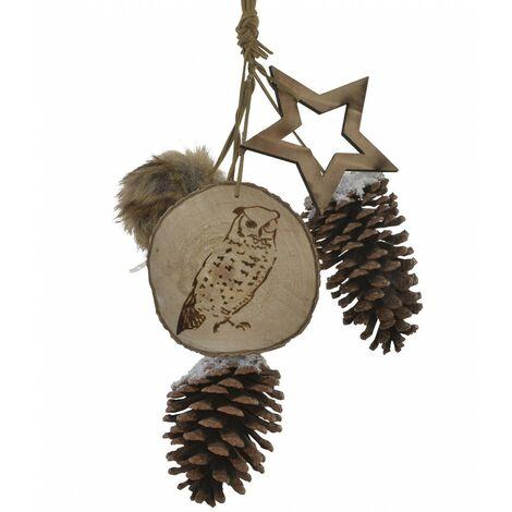 Decoración Colgante de Navidad en Madera, Diseño de Piñas, Buho y Estrella. Ideal para decoración Original 10X45 cm.-Hogarymas-