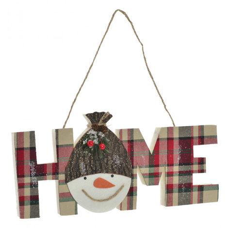 Decoración Colgante de Navidad, Muñeco de Nieve Home, Diseño Navideño/Original. Ideal para decorar su hogar 40X15 cm.-Hogarymas-