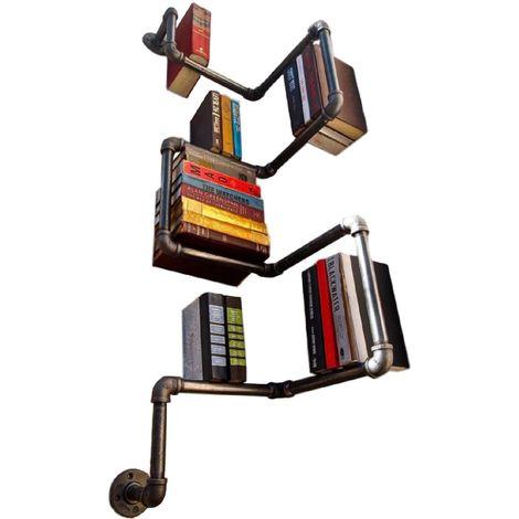 Decoración de estante de almacenamiento de estante de libro de tubo negro de acero urbano de estilo urbano