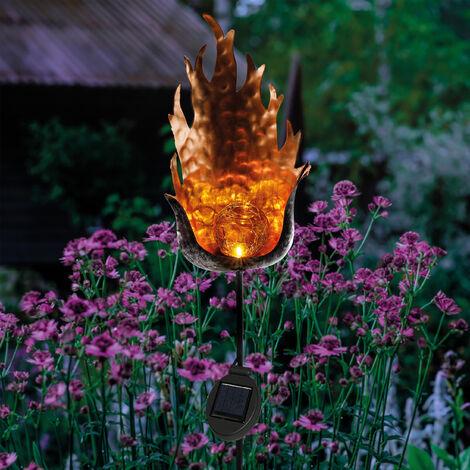 Decoración de jardín solar con llama blanca cálida LED de jardín esotec 102381