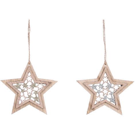 Decoración de madera para arbol de navidad modelo estrella colores surtidos 9cm