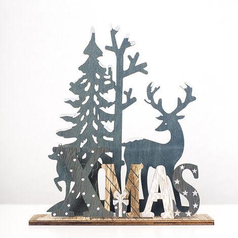 Decoracion de Navidad arbol de navidad de los alces de madera del arte para la oficina en casa 2 Tamanos opcional, multicolor, L