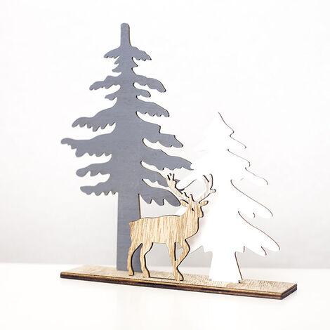 Decoracion de Navidad arbol de navidad de los alces de madera del arte para la oficina en casa 2 Tamanos opcional, multicolor, S