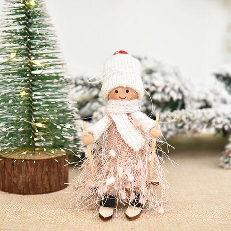 Decoracion de Navidad del muchacho y del esqui de la muneca del arbol colgante colgar adornos de Navidad Manualidades Elfos, Decoracion estilo 3