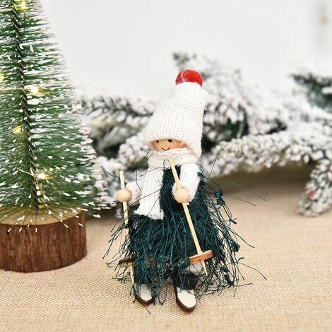 Decoracion de Navidad del muchacho y del esqui de la muneca del arbol colgante colgar adornos de Navidad Manualidades Elfos Decoracion, Estilo 4
