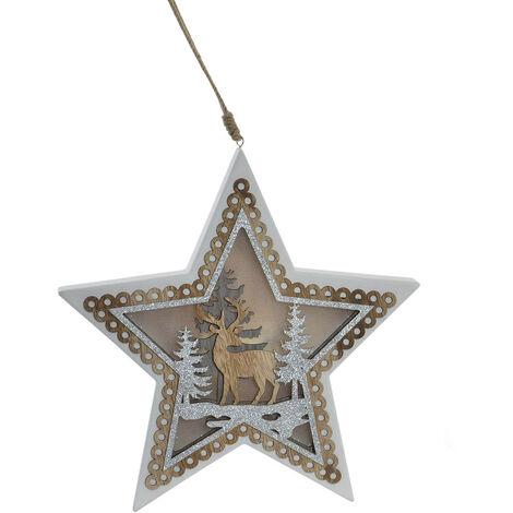 Decoración de Navidad Luminosa con luces LED para Colgar, 2 Modelos a elegir (Estrella y Árbol) 32X3X31CM.-Hogarymas- A