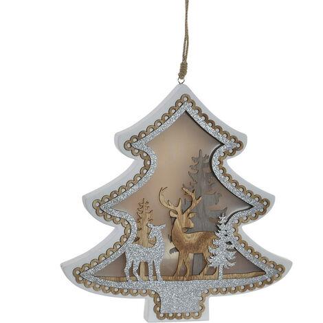 Decoración de Navidad Luminosa con luces LED para Colgar, 2 Modelos a elegir (Estrella y Árbol) 32X3X31CM.-Hogarymas- B