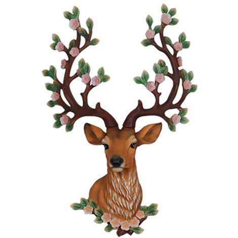 Decoración de navidad mural cabeza de ciervo sika ciervo escultura pared escultura figura