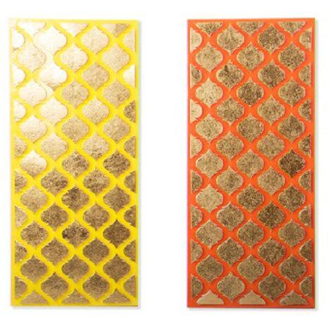 Decoración de pared étnica - panel rectangular - (32x72x3 cm) metal Amarillo