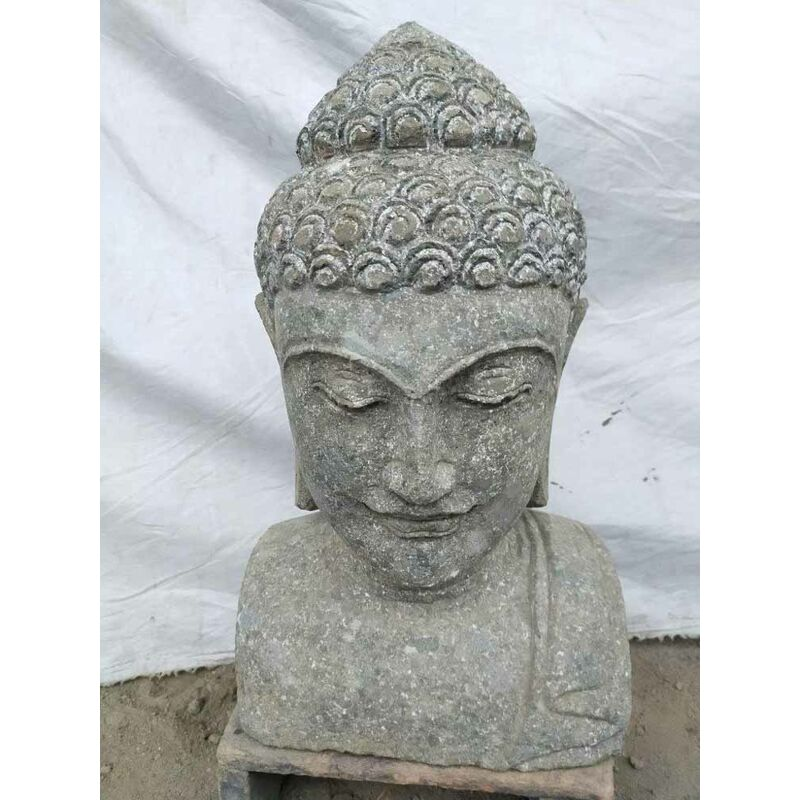 Decoración jardín busto de Buda estatua de piedra volcánica 40 cm - WANDA COLLECTION