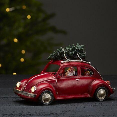 Decoración LED de mariquita roja con Santa Claus