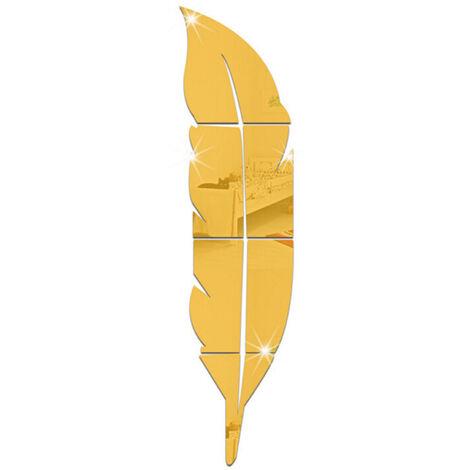 Decoracion moderna para el hogar Espejo acrilico 3D Pegatinas de pared con plumas Calcomanias artisticas extraibles Mural Sala de estar Decoracion de oficina (Oro, L)