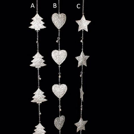 Decoración navidad cadena metal con cascabeles (108x7) tres modelos A