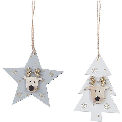 Decoración para arbol de navidad modelo estrella gris diseños surtidos