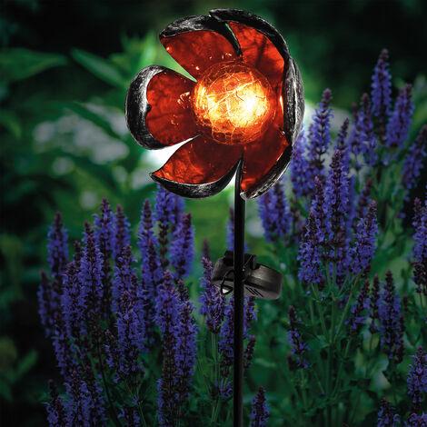 Decoración solar de flor para jardín con LED blanco cálido esotec 102384