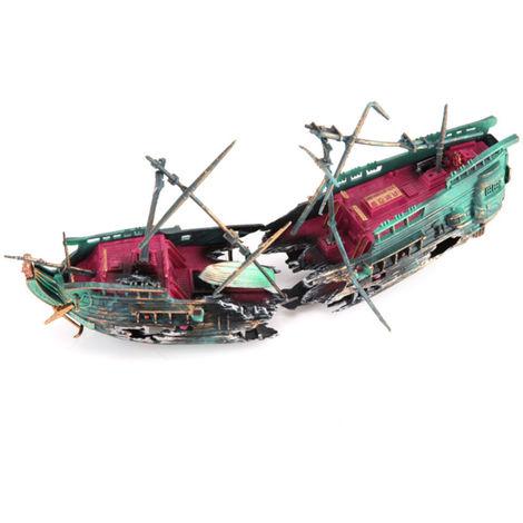 Decoraciones de restos de naufragio de acuario, oscuro