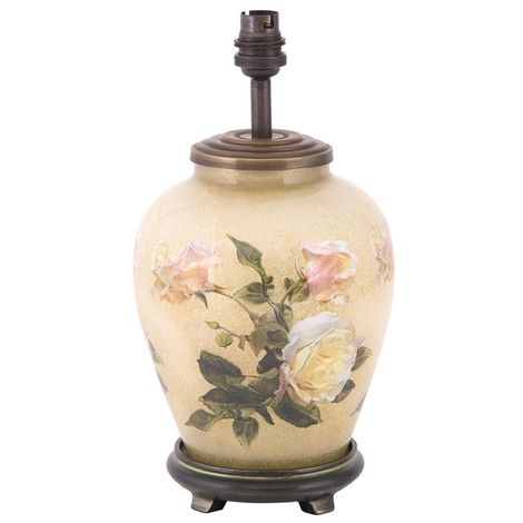 Decorated Small Round Lamp Base Only Classic Rose Design