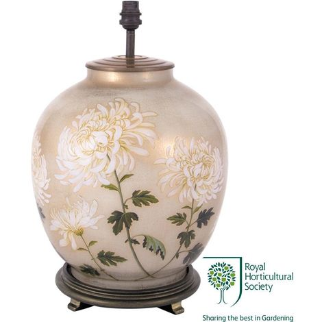 Decorated White Large Oval Lamp Base Only Chrysanthemum