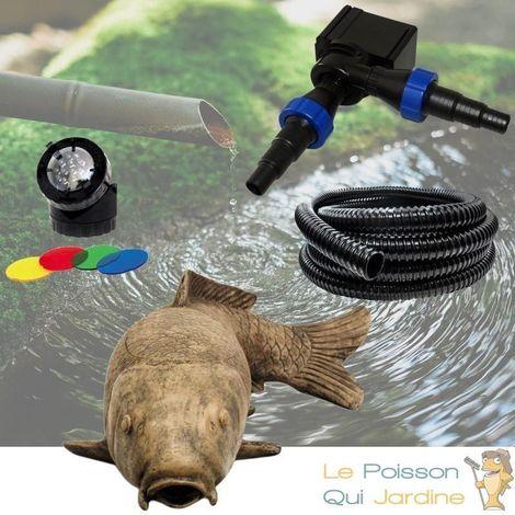 Décoration Bassin Carpe KoÏ + Pompe + Tuyau + Spot LED : Tout inclus