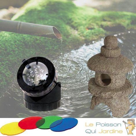Décoration De Bassin De Jardin, Pagode + Spot LED 1,5W