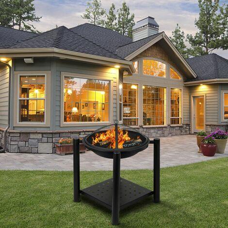 Décoration de foyer au bois pour brasero en fer de 22 po de quatre pieds pour la piscine arrière avec une étagère
