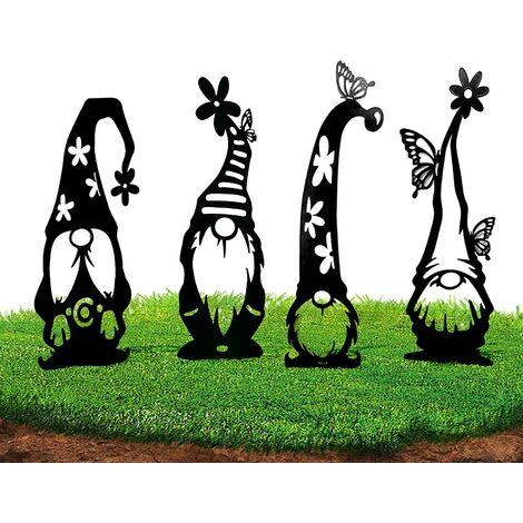 Décoration de gnomes de branche en acier, décorations de jardin de gnomes, art de jardin en métal, taille augmentée à 20,9 pouces, statue de jardin à silhouette évidée, belle gardienne de pelouse de jardin extérieur (paquet de 4)