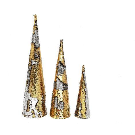 Décoration de Noël Cônes avec sequin Design - Blanc