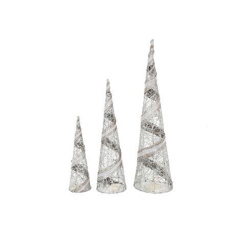Décoration de Noël LED Cônes à paillettes Ice - Argent