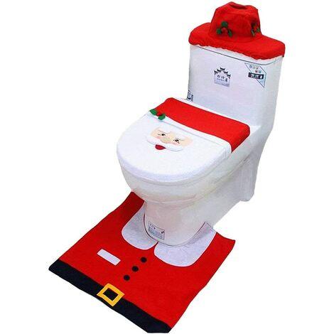 Décoration de toilette de salle de bain de Noël Ensemble de 3 pièces Housse de toilette lavable amovible + tapis + couvercle de réservoir d'eau + boîte à mouchoirs pour familles, hôtels, supermarchés